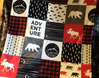 Lumberjack / Little Adventurer Designer Minky Blanket- Double Sided Minky From Baby to Adult- Bears and Moose