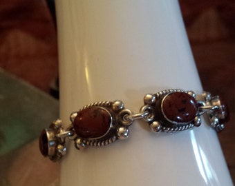 Sterling silver mohagany jasper ornate link bracelet with toggle closure