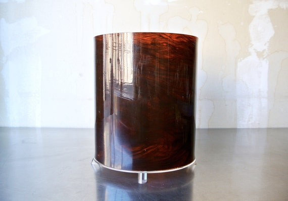 awesome vintage mid century lucite trash can amber burl wood