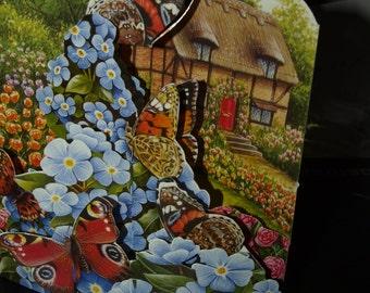 3D Card  Butterflies in the Flowers