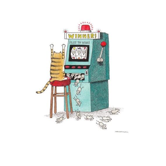 Funny Cat Art Print Las Vegas Casino Gambling Humor Man