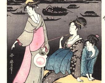 "Japanese Ukiyoe, Woodblock print, Utamaro, ""Enjoying the Evening Cool on the Banks of Sumida River"""