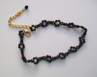 French Jet Glass Bead Weave Choker Necklace