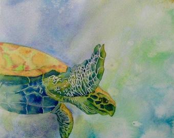 Sea Turtle Watercolor Painting. Ocean turtle ORIGINAL painting. Turtle wall art. Beach art, Aquatic art, Signed OOAK art 14x10in, not print!
