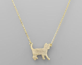 Gold Cat Charm Necklace