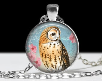 Owl Jewelry Pendant Wearable Art Owl Necklace Gift for Her Pretty Owl Necklace
