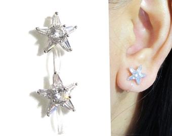 Star Cubic Zirconia clip on earrings 14E Wedding crystal clip on earring Bridal Stud rhinestone clip on Non pierced earrings Gift for her