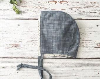 baby bonnet // chambray modern bonnet // baby sun bonnet // modern baby bonnet // baby sun hat // sun hat // sunbonnet
