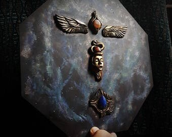 Crystal Goddess wallhanging/high relief,Universal Mother Goddess /Crystal Art/Handmade/Unique/Pagan/Heathen/Painting/Nordic/