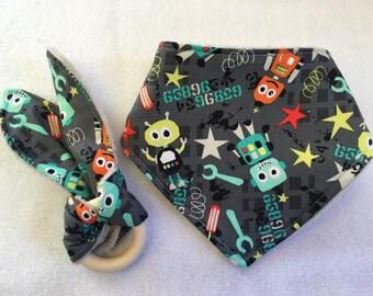 Dribble Bib and Rabbit Ear Teether Robots