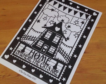 Home Is Where The Cats Are - Paper Cutting Template. Personal And Commercial Use PDF