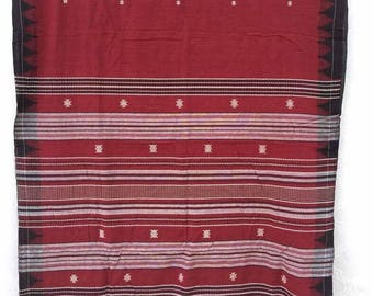 Handwoven Organic Cotton Natural Dyed Tribal Kotpad Saree / Rare Revival Weave Of India / Handwoven Tribal Saree