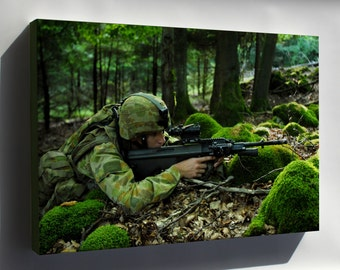 Canvas 24x36; Australian Soldier Assumes A Solid Fighting Position