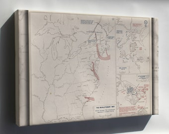 Canvas 24x36; Revolutionary War Map Boston, 1775-1776