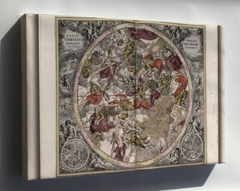 Canvas 24x36; Map N Constellations Zodiac Astrology 1708 P2