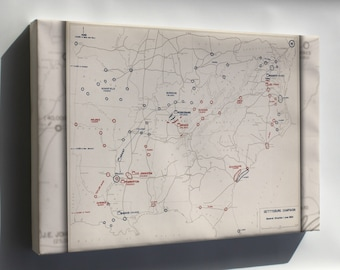Canvas 24x36; Map Of Civil War Gettysburg Campaign, 1863