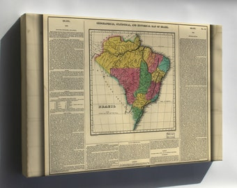 Canvas 24x36; Geography Statistical Historical Map Brazil 1822