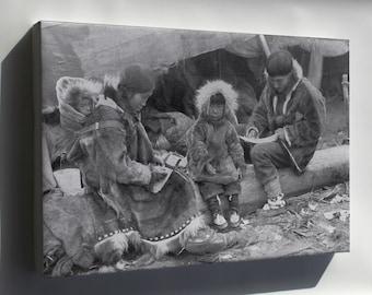 Canvas 24x36; Inuit- Eskimo Family 1917