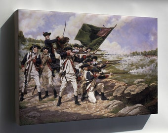 Canvas 16x24; Delaware Regiment At The Battle Of Long Island