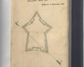 Canvas 16x24; Map Gloucester Point Fort Richmond Virginia 1861