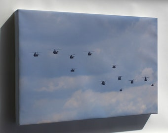 Canvas 16x24; A Lot Of Royal Netherlands Air Force Helicopters In The Air