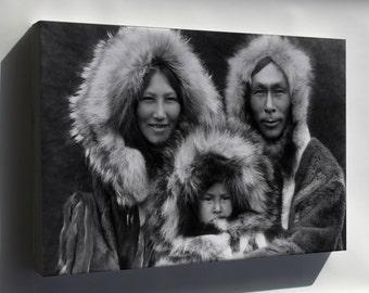 Canvas 16x24; Inuit Eskimo Family From Noatak, Alaska 1929