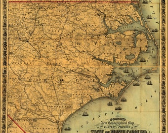 16x24 Poster; Map Of Eastern Portion Of North Carolina 1861