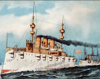 16x24 Poster; Armored Steel Cruiser New York, 1893 Currier And Ives