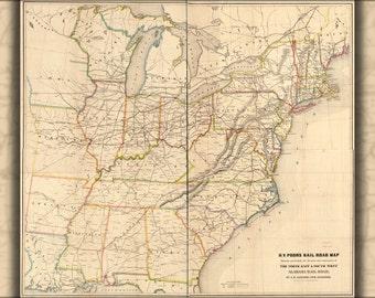 16x24 Poster; Map Northeast & Southwest Alabama Railroad, 1854
