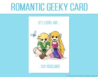Legend of Zelda Inspired Valentine's Card - Let's Cuddle and Play VideoGames , Printable Card, Love Card - INSTANT DOWNLOAD