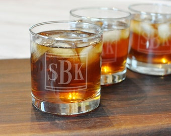 Set of 9 Groomsman Rocks Glasses - Monogram Rocks Glass - Scotch Glass - Personalized Glasses - Groomsman Whiskey Glass - Etched Rocks Glass
