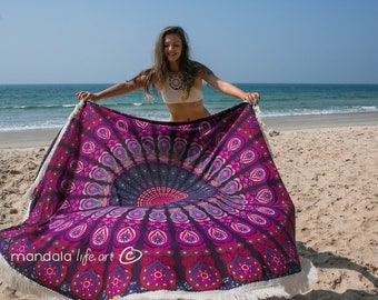 Hippie Tapestry, Bohemian Mandala Tapestry, Boho Beach Blanket, Round Tapestry Tablecloths