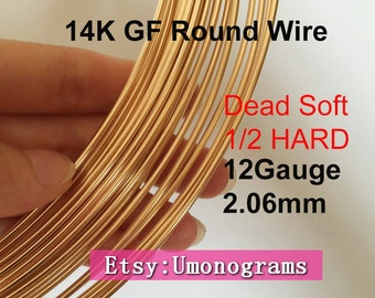 "14K Gold Filled Round Wire 12 Gauge .081"" 2.06mm Dead Soft / Half Hard 12ga Jewelry Making Wholesale BULK DIY Findings 1/20 14kt Yellow GF"