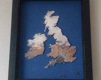 UK and Ireland map in planished aluminium