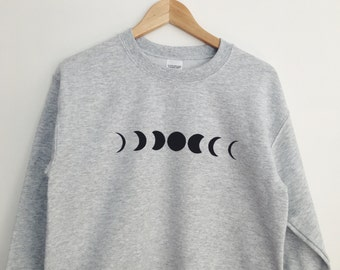 Moon Phase Printed Grey Crewneck Sweatshirt Cozy Jumper