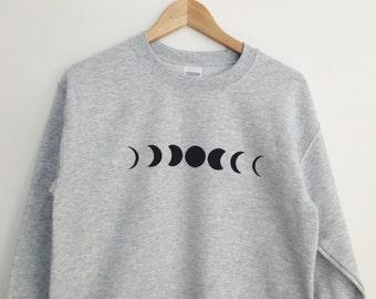 Moon Phase Printed Grey Crewneck Sweatshirt Cozy Jumper / Ash Grey