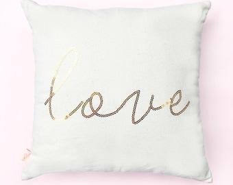Love Pillow, Throw Pillows, Decorative Pillow, Couch Pillow, Accent Pillow, Shabby Chic Pillow, Gold Sequin Love Pillow, Pillows, Pillow