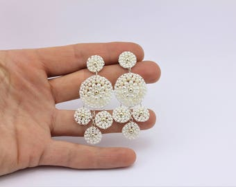 Bridal Earrings, Handmade Seed Bead Earrings with Brick Stitch by Detail London.