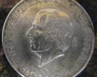 1955 Mexican Silver 5 Pesos - Hidalgo