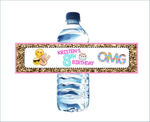 Emoji Printable Water Bottle Wrapper