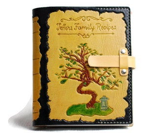 """7""""x9"""" Leather Family Recipe Book Personalized Recipe Book Gift for Her Leather Book TiVergy Book"""
