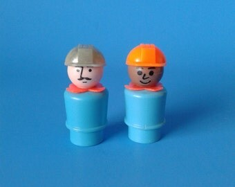 "Fisher Price Little People "" Construction Worker / Mechanic Assortment "" 1970's"