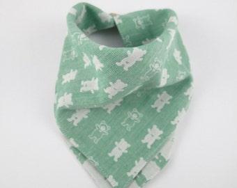 Dribble bib, baby boy bib, bandana bib, green bear bib, cotton bib, toddler bib, gift idea for baby boy