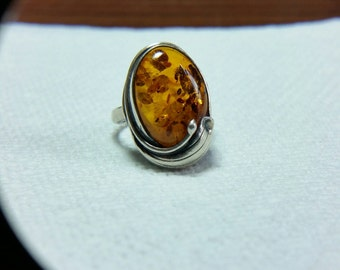 Vintage Baltic Amber Sterling Silver Ring Signed, Cognac Amber, Indian Amber, Indian Sterling Silver, Amber Ring,Honey Amber Ring