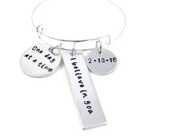 Sobriety gift sobriety anniversary date, Sobriety bracelet sobriety jewelry, Never give up, One day at a time, I believe in you  bracelet