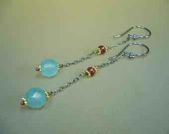 Aqua Blue Chalcedony Ruby Oxidized Sterling Silver Gold Mixed Metal Long Dangle Earrings