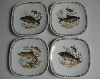 4 French square pottery fish plates made by Longchamps.