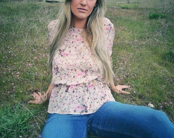 Floral Sheer Blouse -Open Back Blouse -Pastel Floral Blouse -Rose Print Blouse -Vintage Sheer Top-Peplum Blouse-Size M/L