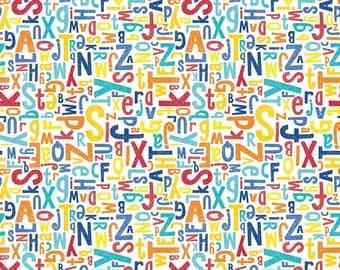 Crayola Color Me Alphabet White by Crayola for Riley Blake Designs