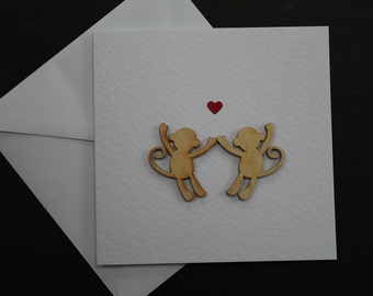 Valentine card love card monkey card Monkeying Around by Dotty Rainbow